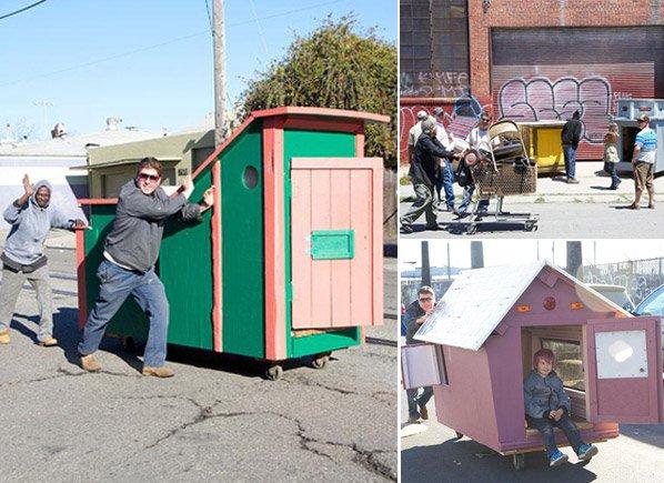 Artista usa lixo para construir casas incríveis para moradores de rua