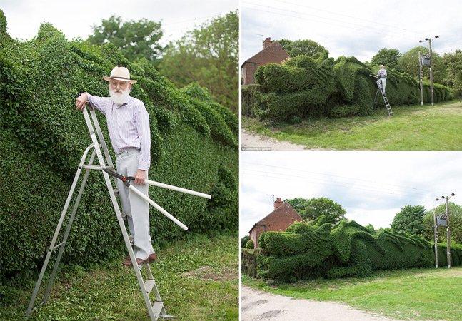 Homem passa 13 anos construindo uma cerca viva em forma de dragão