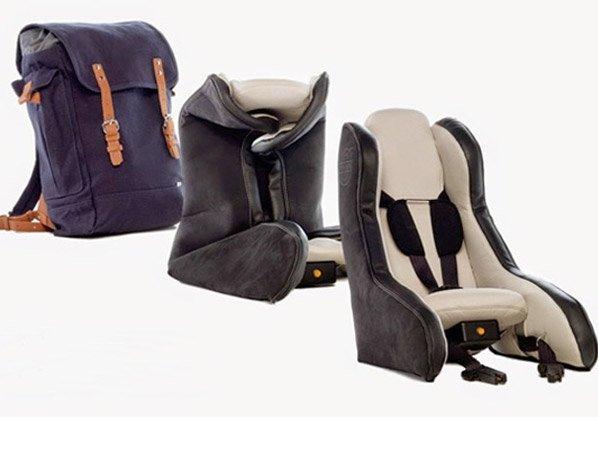 Inovação: cadeirinha para bebês inflável fica pronta em 40seg e cabe dentro de uma mochila
