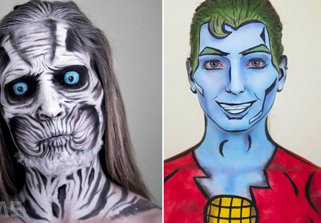 Artista autodidata se transforma em diferentes personagens  usando somente maquiagem