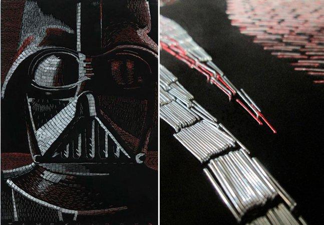 Artista cria mosaico incrível de personagem de Star Wars usando milhares de grampos