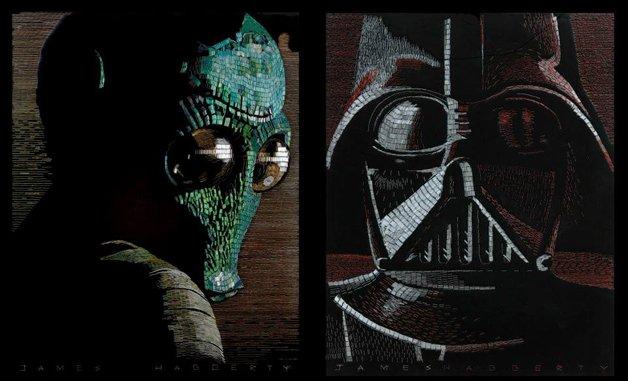 Personagens de Star Wars recriados com grampos