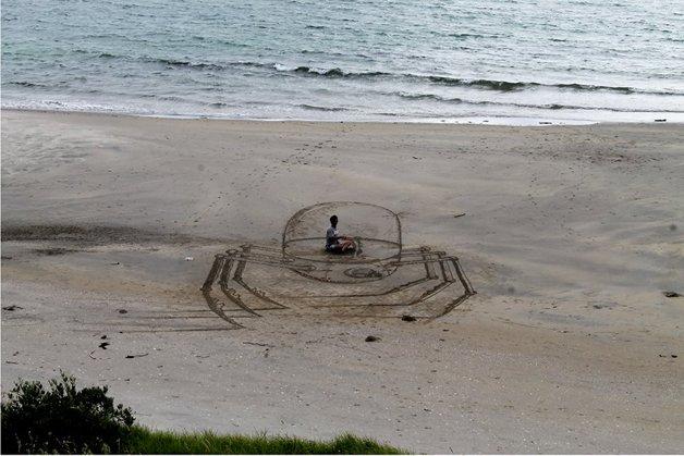 Desenho 3D na praia