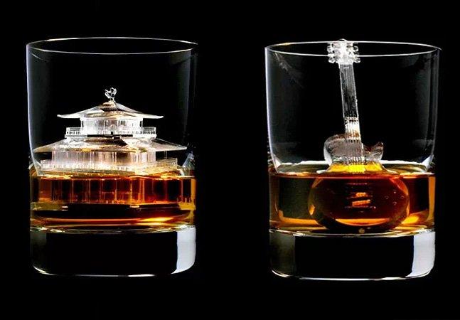 Fabricante japonesa de whisky transforma cubos de gelo em impressionantes obras de arte em 3D