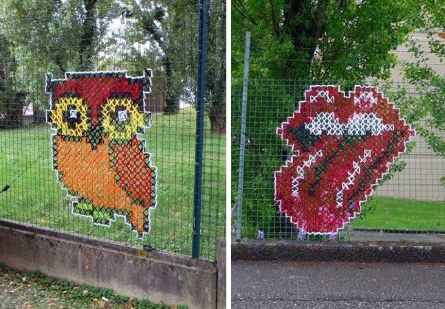 Incríveis trabalhos com ponto cruz são a nova onda da arte de rua