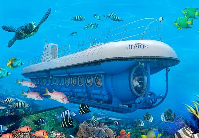 Seja turista no Caribe a bordo de um submarino