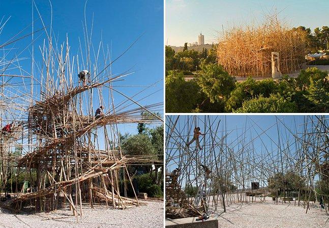 Artistas criam a maior instalação do mundo feita com bambus para mostrar como a ordem pode surgir do caos