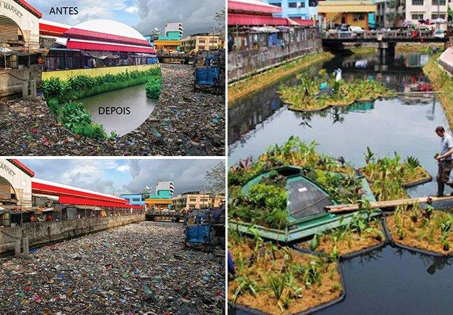 Sistema ecológico permite transformar rios poluídos em incríveis jardins flutuantes