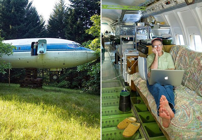 Homem transforma avião antigo em sua casa em meio à natureza