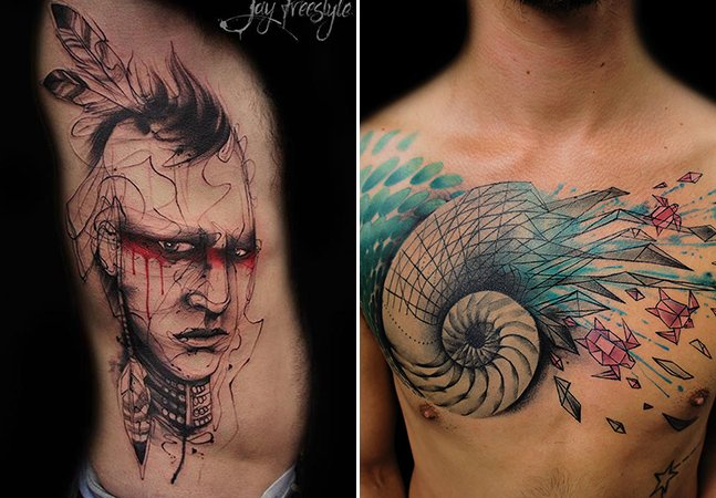 O belo trabalho do tatuador que cria sua arte na pele sem rascunho