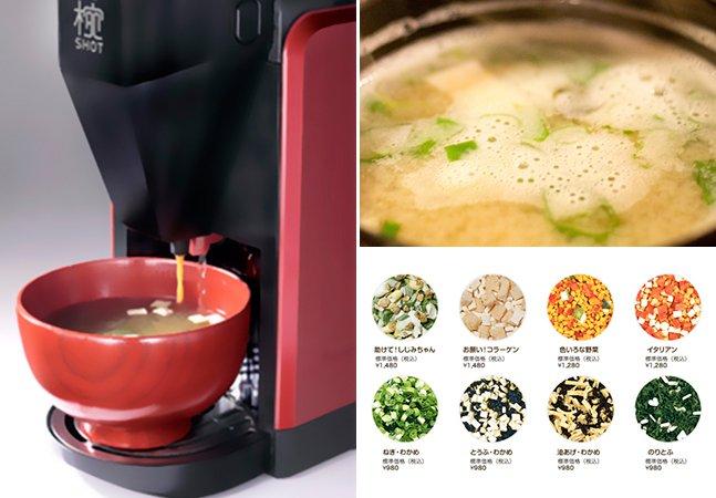 Máquina inovadora é capaz de fazer até 75 tigelas de sopa missô em diversos sabores