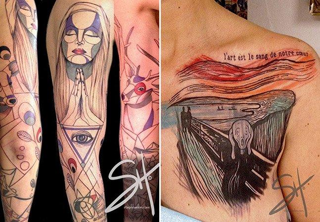 Arte na pele: conheça a tatuagem não convencional de Steph Hanlon