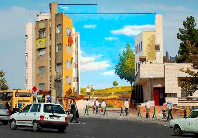 Artista de rua dá cor aos muros da capital do Irã usando o poder da ilusão de ótica
