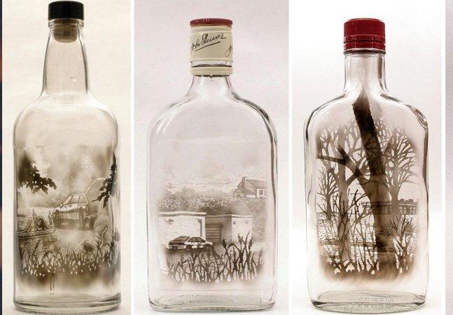Artista usa fumaça para criar obras detalhadas dentro de garrafas