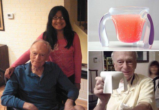 Menina de 11 anos cria caneca adaptada para o avô com Parkinson e consegue financiamento coletivo no Kickstarter