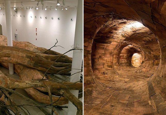 Artista brasileiro recicla madeira de construções para criar instalação artística surpreendente