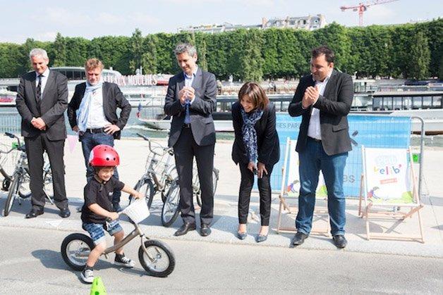Inauguration de p'tits Vélibs sur les Berges de Seine