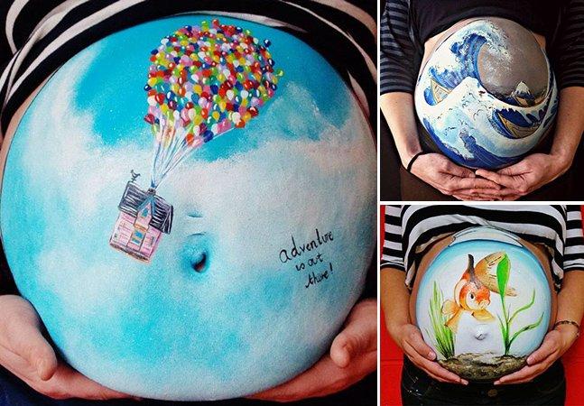 Artista criativa usa barrigas de mulheres grávidas como tela para suas obras cheias de cor