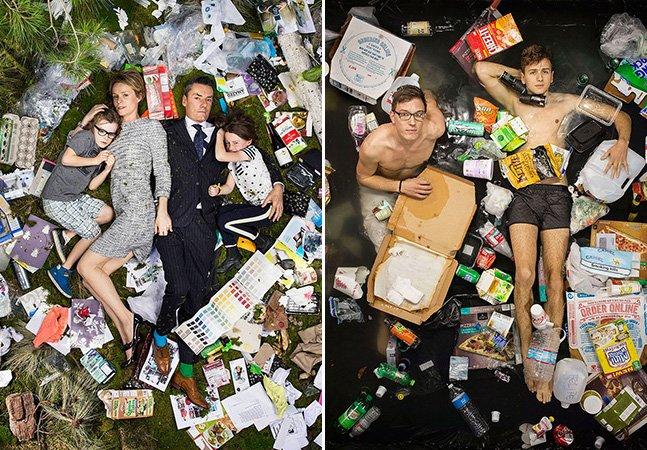 Série de fotos impactante mostra famílias deitadas sobre o lixo que acumularam em 7 dias