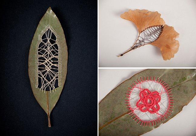 Artista faz bordados em folhas de árvore e deixa a natureza ainda mais bela