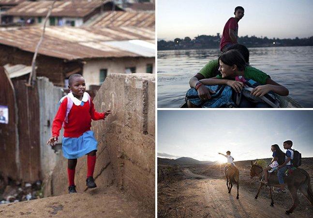 Série de fotos mostra o caminho que crianças ao redor do mundo percorrem para ir à escola