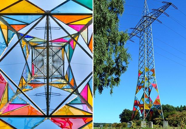 Estudantes criativos transformam torre de energia em instalação artística colorida