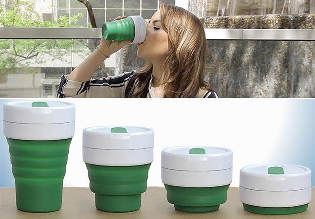 Conheça o copo de café reutilizável que pode ser guardado no bolso