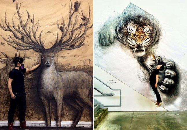 Artista cria murais gigantes que parecem ter vida própria