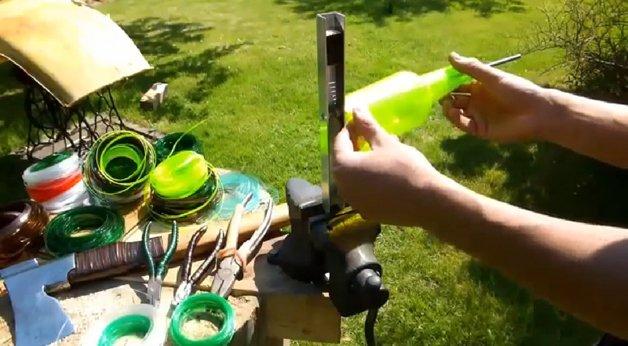 Transformando garrafa PET em fio