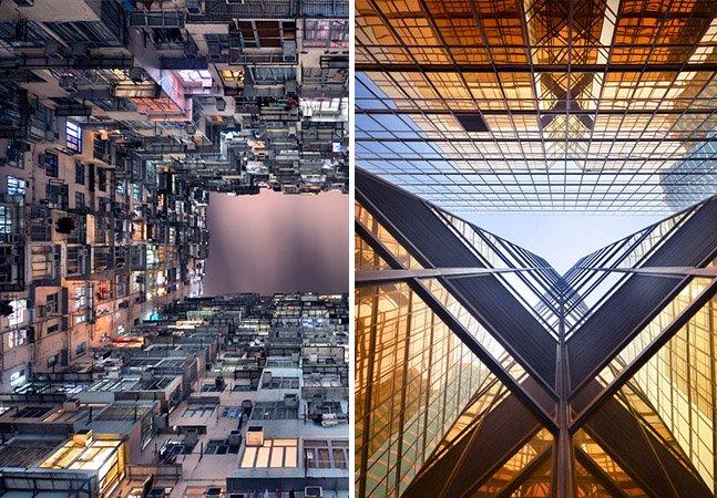 Fotógrafo clica prédios de Hong Kong vistos de baixo para cima e capta suas diversas formas geométricas