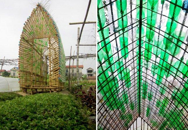 Conheça a estufa sustentável criada com bambu e garrafas PET que serve de dormitório para quem cultiva