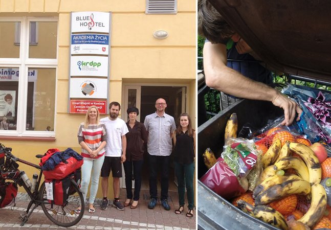 Homem pedala milhares de quilômetros comendo alimentos do lixo para protestar contra o desperdício