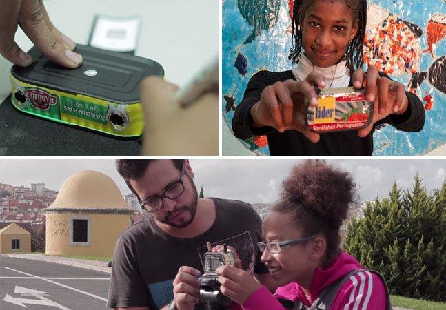 Projeto ensina crianças e jovens a construir câmeras fotográficas a partir de latas de sardinha