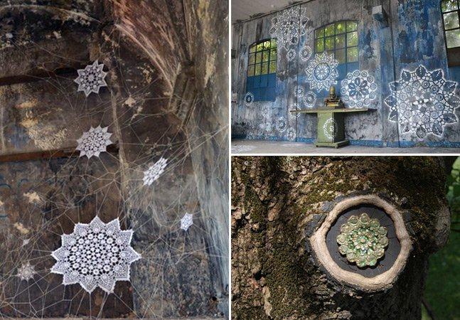 Artista polonesa cobre as ruas com street art inovadora feita com stencil, cerâmicas e crochê