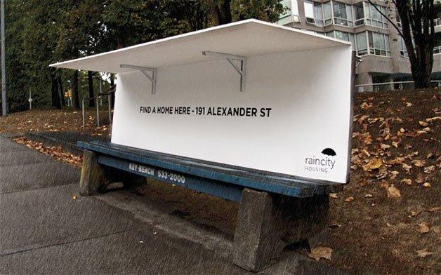 Banco com telhado para moradores de rua
