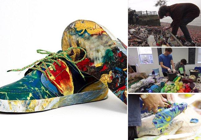 Para alertar sobre consumo excessivo, ONG cria sapato feito 100% de lixo coletado de um rio