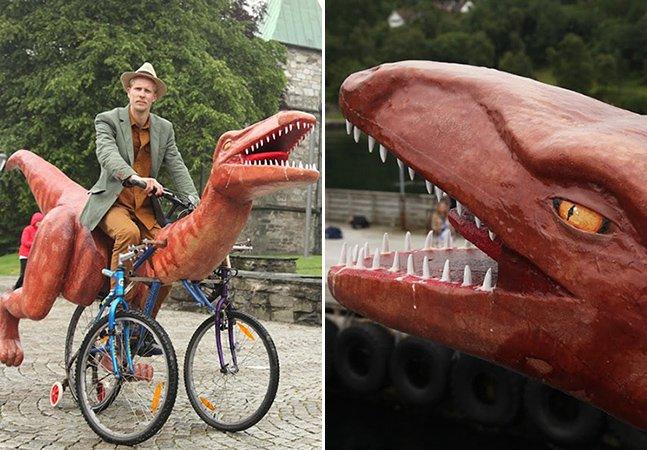 Artista inova e pedala pela Noruega em bicicleta no formato de dinossauro como forma de protesto