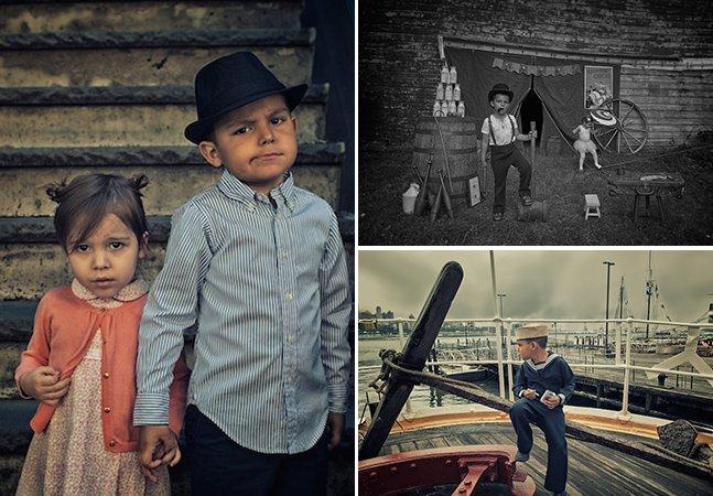 Fotógrafo retrata a vida em várias épocas usando os filhos como modelos
