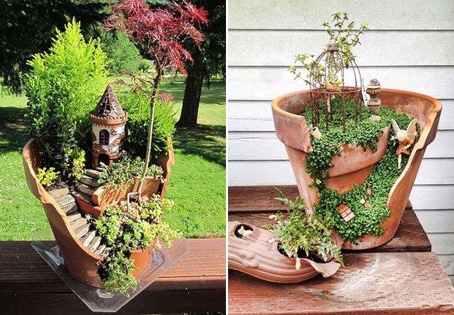 Conheça a nova moda de aproveitar vasos quebrados pra criar pequenos (e mágicos!) jardins