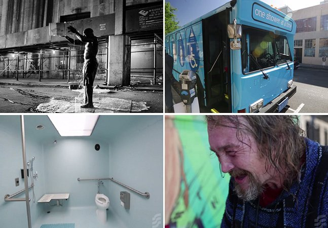 Ônibus reformado oferece banheiro e chuveiro itinerantes a pessoas em situação de rua