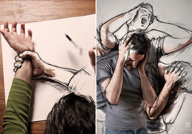 Artista mescla fotografia com desenho e o resultado é supreendente