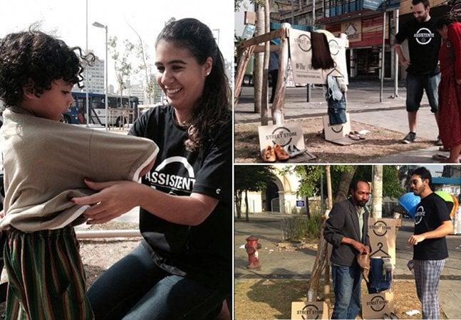 """Conheça a """"loja"""" brasileira que oferece roupas de graça a moradores de rua"""