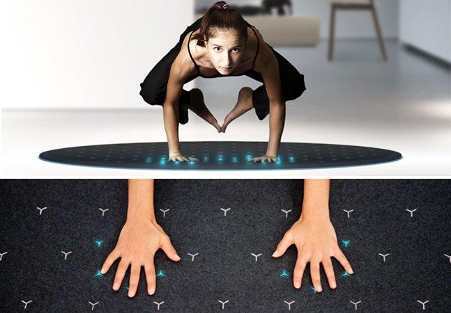 Tapete inovador usa luzes LED para ensinar yoga e outros exercícios físicos