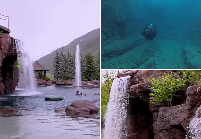 Conheça a piscina artificial que tem cinco cachoeiras, um rio e um túnel para mergulho