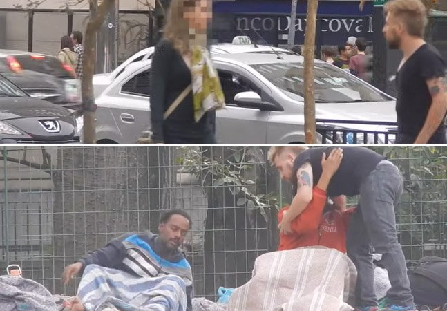 Homem sai pelas ruas pedindo abraços a transeuntes e moradores de rua e registra as reações de uns e outros