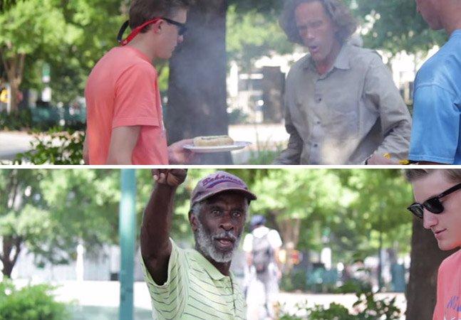 Eles fizeram um churrasco ao ar livre e convidaram moradores de rua para comer também