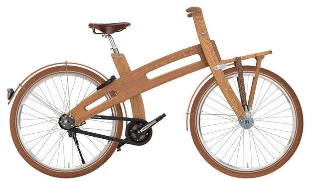 Bicicleta elétrica de madeira