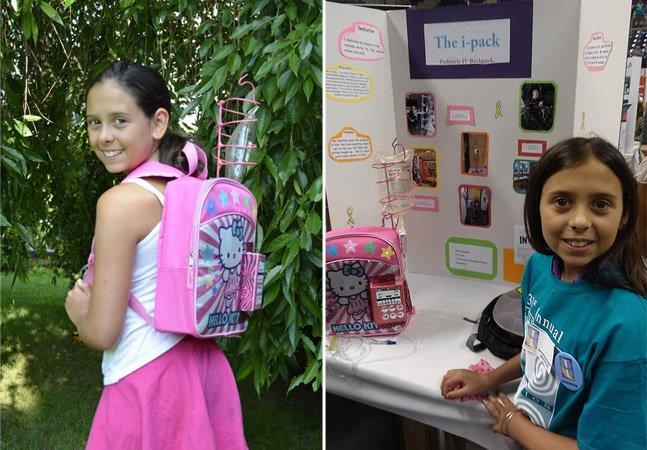 Menina de 11 anos se recupera de câncer e cria mochila para ajudar crianças que fazem quimioterapia