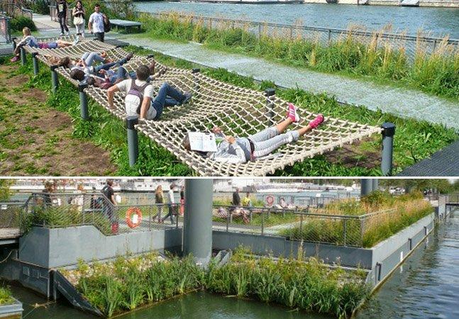 """Com o lema """"menos carros e mais pedestres"""", Paris remodela margens do rio Sena com jardim flutuante"""