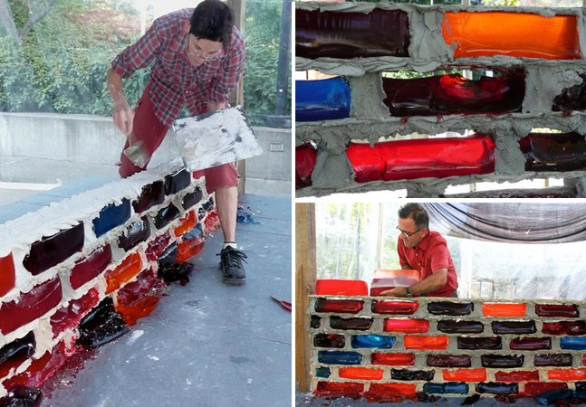 Dupla de artistas substitui tijolos por gelatina para criar paredes coloridas